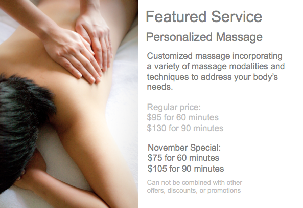 Featured Special - Personalized Massage